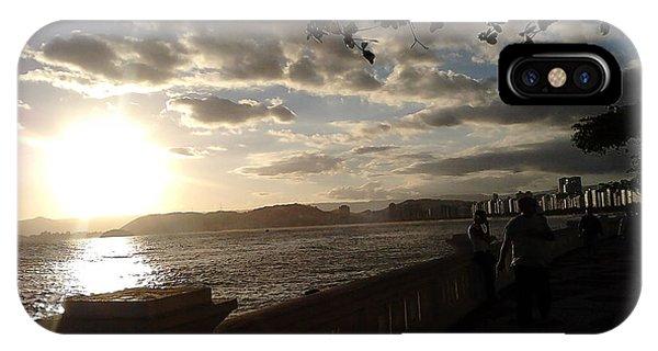Sunset Walk Ponta Da Praia Santos Brazil Phone Case by Vera Radoja de Vasconcelos