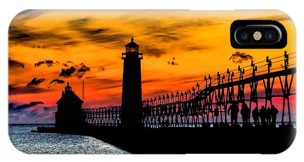 Sunset Walking On Grand Haven Pier IPhone Case