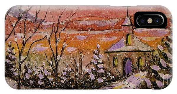 Sunset Winter Church IPhone Case