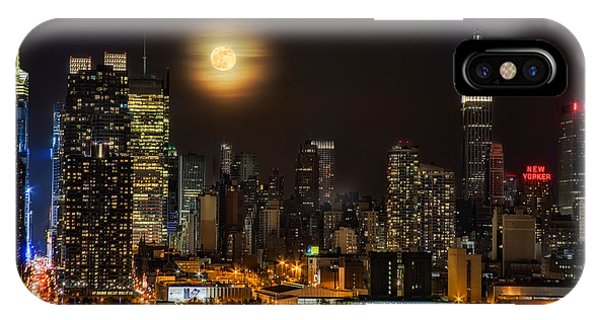 Super Moon Over Nyc IPhone Case