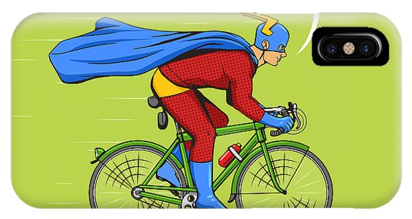 Humor iPhone Case - Superhero On A Bicycle Cartoon Pop Art by Alexander p