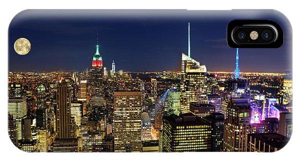 Supermoon Over Manhattan Phone Case by Lee Dos Santos