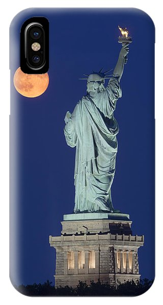 Statue Of Liberty iPhone Case - Supermoon Over New York City by Susan Candelario