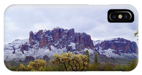 Superstition Mountain Snow IPhone Case