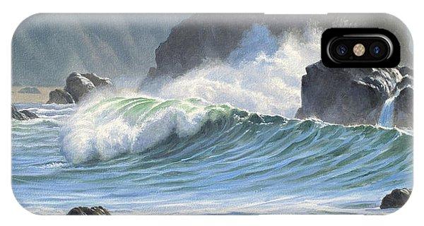 Rocky iPhone Case - Surf And Rocks-harris Beach by Paul Krapf