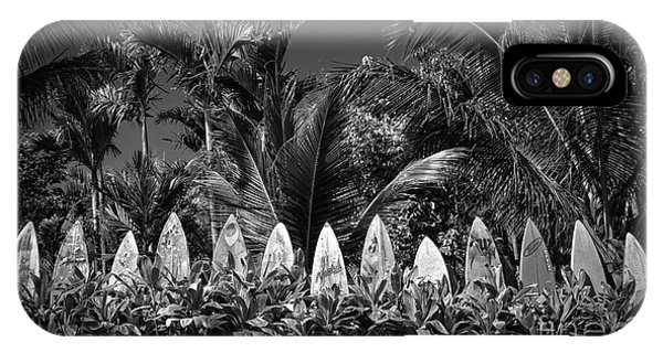 Surf Board Fence Maui Hawaii Black And White IPhone Case