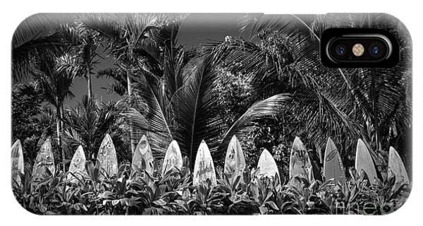 IPhone Case featuring the photograph Surf Board Fence Maui Hawaii Black And White by Edward Fielding