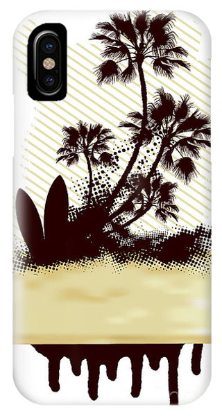 Funky iPhone Case - Surf Grunge Dirty Scene With Palms And by Locote
