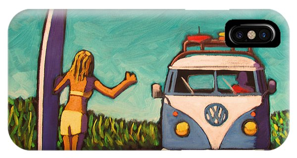 Surfer Girl And Vw Bus IPhone Case
