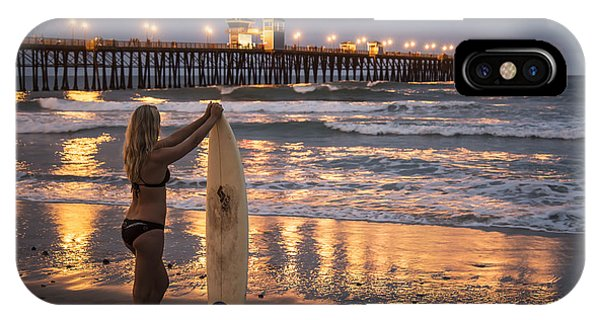 Surfer Girl At Oceanside Pier 1 IPhone Case