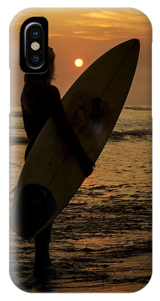 Surfer Girl Sunset Silhouette IPhone Case