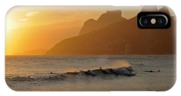 Surfers At Sunset On Ipanema Beach, Rio IPhone Case
