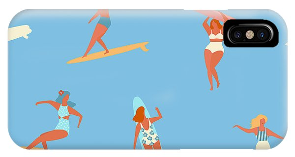 Humor iPhone Case - Surfing Girls Illustration In Vector by Tasiania