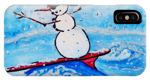 Surfing Snowman IPhone Case