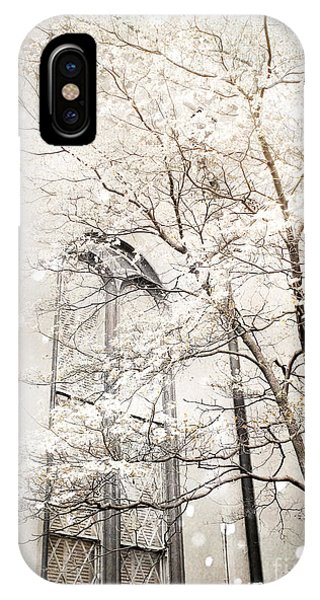 Snow iPhone Case - Surreal Dreamy Winter White Church Trees by Kathy Fornal