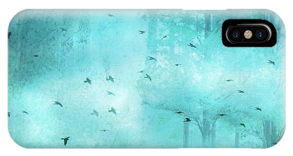 Teal iPhone Case - Surreal Fantasy Aqua Blue Teal Trees With Flying Birds by Kathy Fornal