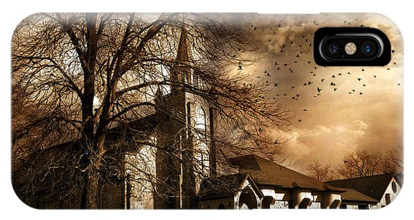 Lutheran iPhone Case - Surreal Gothic Old Church Stormy Sepia Skies - Surreal Church Autumn Fall Flying Birds by Kathy Fornal