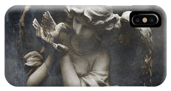 Ethereal Guardian Angel With Dove Of Peace IPhone Case