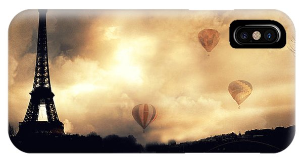 Paris Eiffel Tower Storm Clouds Sunset Sepia Hot Air Balloons IPhone Case