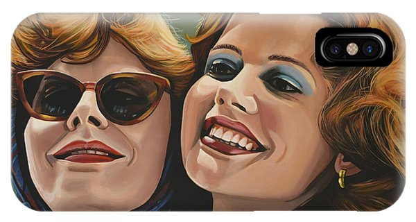 Sunny iPhone Case - Susan Sarandon And Geena Davies Alias Thelma And Louise by Paul Meijering