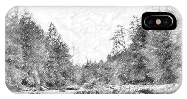 Swallow Falls Waterfall Pencil Sketch IPhone Case