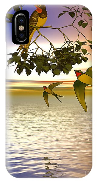 IPhone Case featuring the digital art Swallows At Sundown by Sandra Bauser Digital Art