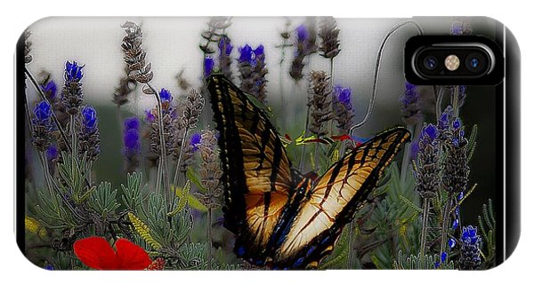 Swallowtail Among Blue Flowers IPhone Case