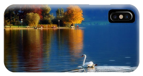 Beautiful Autumn Swan At Lake Schiliersee Germany  IPhone Case