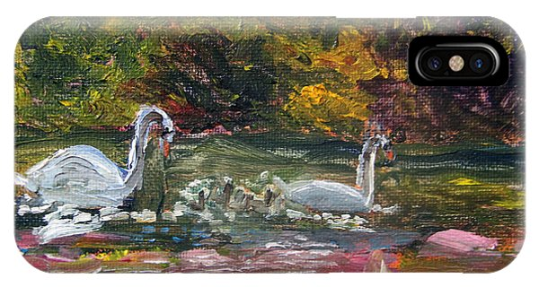 Swans Family Outing IPhone Case