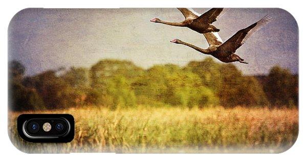 Swans In Flight IPhone Case