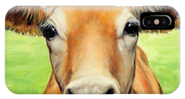 Cow iPhone X / XS Case - Sweet Jersey Cow In Green Grass by Dottie Dracos