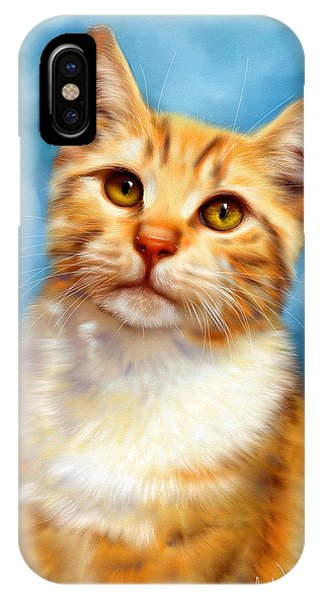 Sweet William Orange Tabby Cat Painting IPhone Case