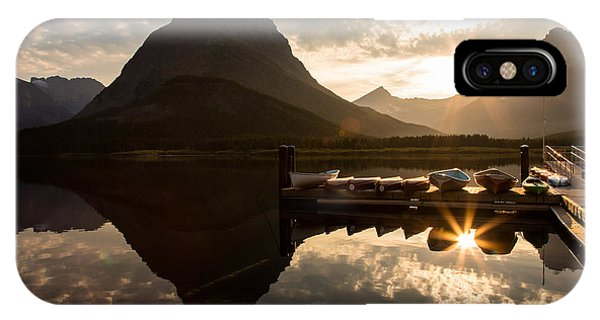 Swiftcurrent Lake Boats Reflection And Flare IPhone Case