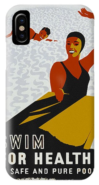 IPhone Case featuring the drawing Swim For Health W P A Poster by Joy McKenzie