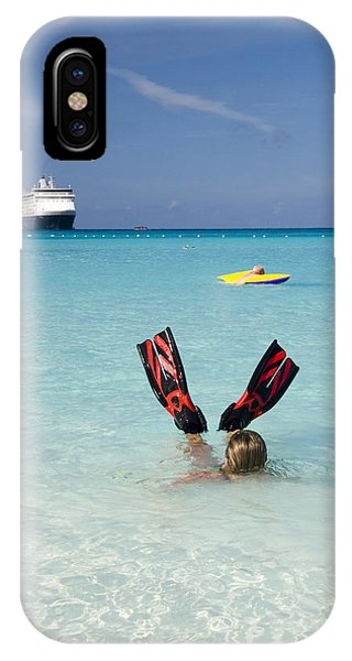 Half Moon iPhone Case - Swimming At A Caribbean Beach by David Smith