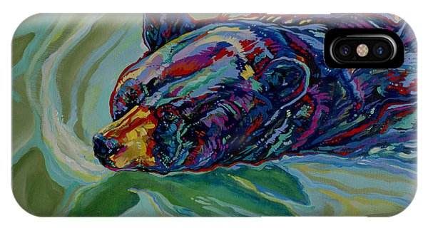 Fauvism iPhone Case - Swimming Bear by Derrick Higgins