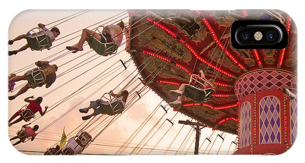 Neon iPhone Case - Swings At Kennywood Park by Carrie Zahniser