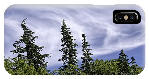 Swirling Clouds Crooked Trees IPhone Case