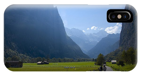Swiss Hikers In Lauterbrunnen Switzerland IPhone Case