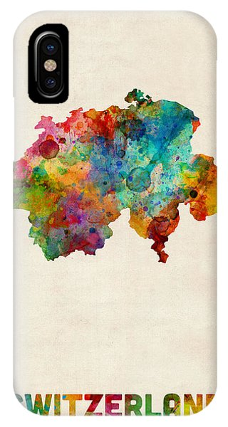 Swiss iPhone Case - Switzerland Watercolor Map by Michael Tompsett