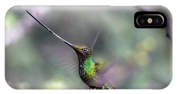 Sword-billed Hummingbird Hovering Ecuador IPhone Case