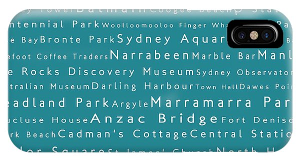 Sydney In Words Teal IPhone Case