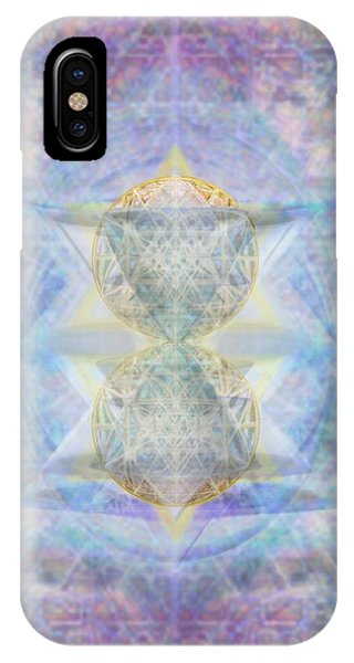 Synthecentered Doublestar Chalice In Blueaurayed Multivortexes On Tapestry Lg IPhone Case