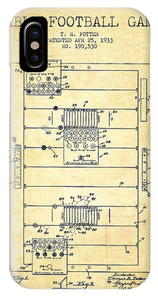 Table Football Game Patent From 1933 - Vintage IPhone Case