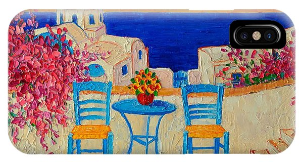 Table For Two iPhone Case - Table For Two In Santorini Greece by Ana Maria Edulescu