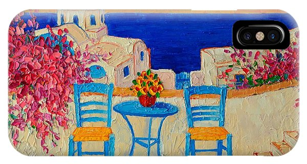 Table For Two In Santorini Greece IPhone Case