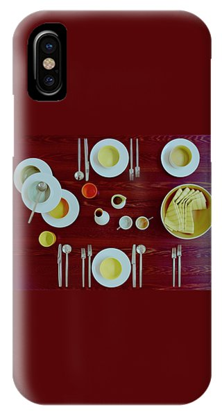 Tableware Set On A Wooden Table IPhone Case