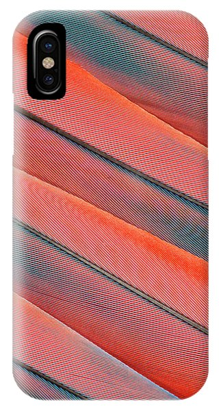 Scarlet iPhone Case - Tail Feather Pattern Scarlet Macaw by Darrell Gulin