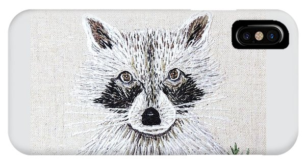 iPhone Case - Take Me Home Raccoon Embroidery Illustration by Stephanie Callsen