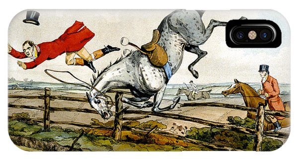 Accident iPhone Case - Taking A Tumble From Qualified Horses And Unqualified Riders by Henry Thomas Alken